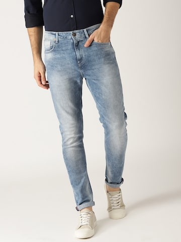United Colors of Benetton Men Blue Carrot Fit Mid-Rise Clean Look Stretchable Jeans United Colors of Benetton Jeans at myntra