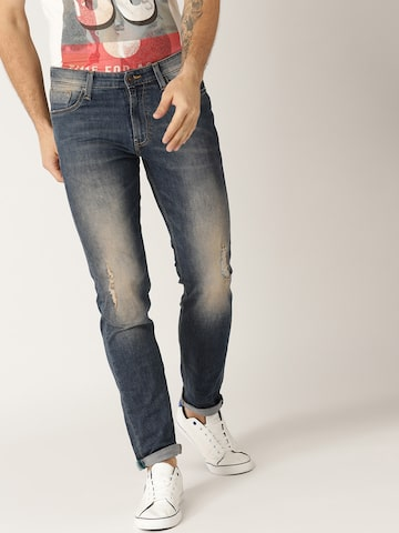 United Colors of Benetton Men Blue Tapered Fit Mid-Rise Low Distress Stretchable Jeans United Colors of Benetton Jeans at myntra