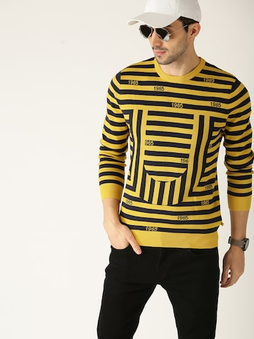 United Colors of Benetton Men Mustard Yellow & Navy Blue Striped Sweater United Colors of Benetton Sweaters at myntra