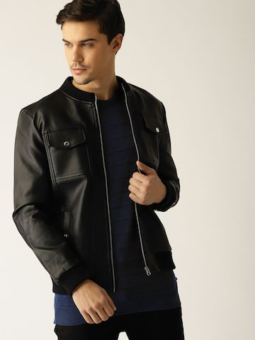 United Colors of Benetton Men Black Solid Bomber Jacket United Colors of Benetton Jackets at myntra