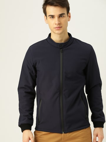 United Colors of Benetton Men Navy Blue Solid Tailored Jacket United Colors of Benetton Jackets at myntra
