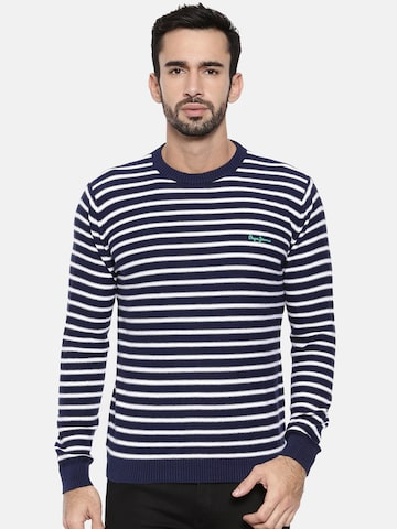 Pepe Jeans Men Navy & Off-White Striped Pullover Pepe Jeans Sweaters at myntra