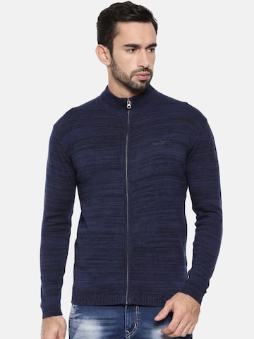 Pepe Jeans Men Navy Blue Solid Cardigan Pepe Jeans Sweaters at myntra