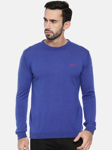Pepe Jeans Men Blue Solid Pullover Pepe Jeans Sweaters at myntra