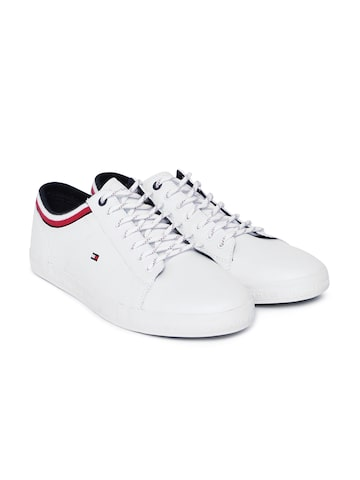 Tommy Hilfiger Men White Leather Sneakers Tommy Hilfiger Casual Shoes at myntra