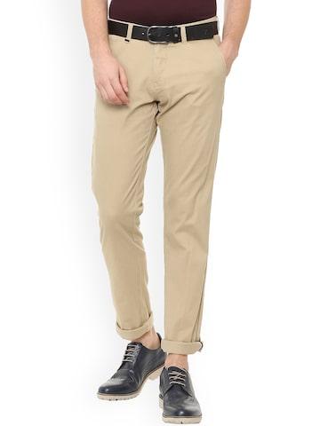 Van Heusen Sport Men Khaki Slim Fit Solid Regular Trousers Van Heusen Sport Trousers at myntra