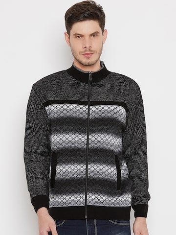 Duke Men Black & White Striped Front-Open Duke Sweaters at myntra
