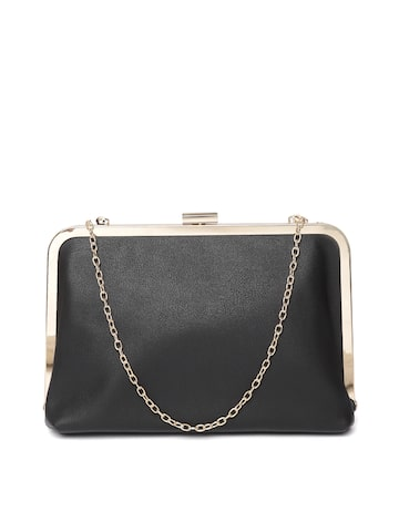 Lino Perros Black Solid Clutch with Detachable Sling Strap Lino Perros Clutches at myntra