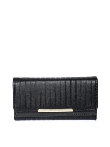 Lino Perros Women Black Striped Three Fold Wallet Lino Perros Wallets at myntra