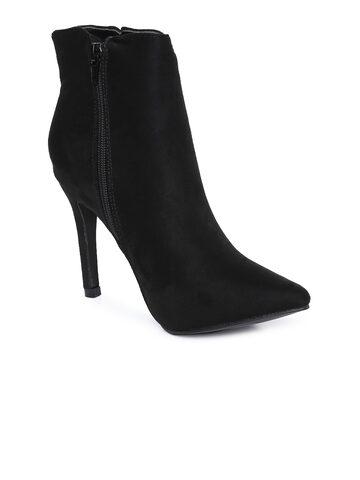 Catwalk Women Black Solid Heeled Boots Catwalk Heels at myntra
