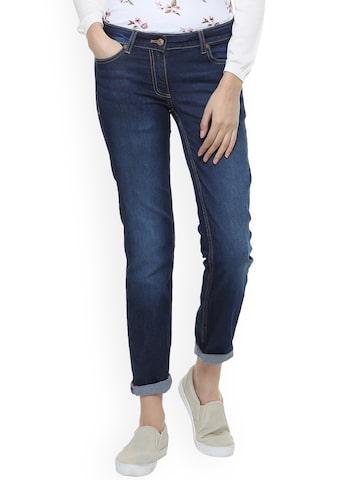 Allen Solly Woman Blue Slim Fit Mid-Rise Clean Look Stretchable Jeans Allen Solly Woman Jeans at myntra