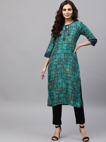 Shree Women Teal Green & Navy Printed Straight Kurta Shree Kurtas at myntra
