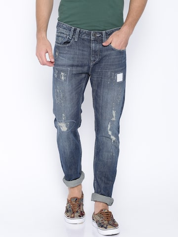 United Colors of Benetton Blue Slim Distressed Jeans at myntra