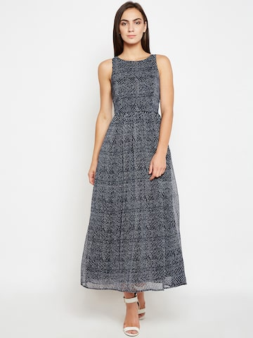 Nun Women Blue Striped Fit and Flare Dress Nun Dresses at myntra