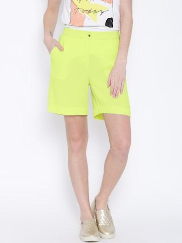 Vero Moda Lime Green Shorts Vero Moda Shorts at myntra