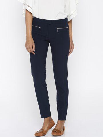 Vero Moda Navy Trousers at myntra