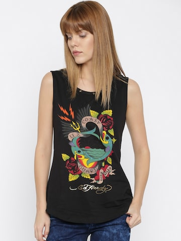 Ed Hardy Black Printed Top at myntra