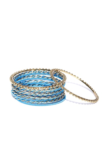 DressBerry Set of 10 Gold-Toned & Blue Bangles at myntra