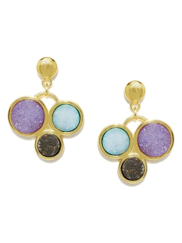 DressBerry Gold-Toned Stone-Studded Earrings at myntra