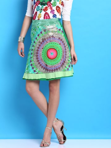 Desigual Green Printed A-Line Skirt at myntra