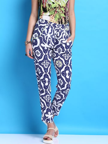Desigual Blue Printed Trousers at myntra