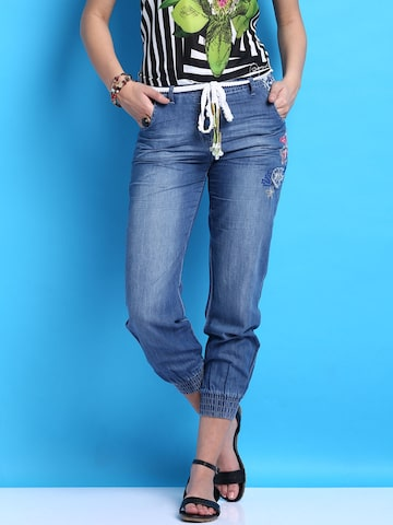 Desigual Blue Trousers at myntra