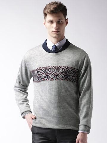 INVICTUS Grey Melange Sweater at myntra