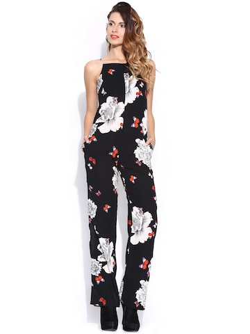 ONLY Black Floral Printed Jumpsuit at myntra