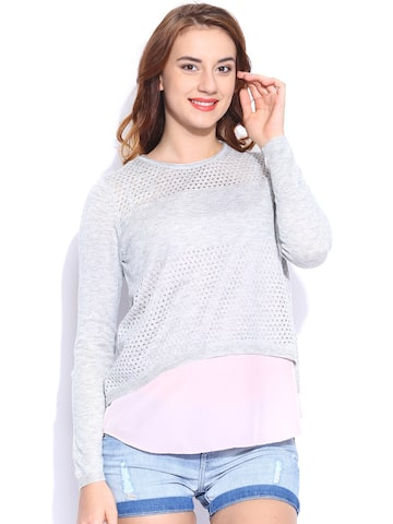 ONLY Grey Layered Top ONLY Tops at myntra