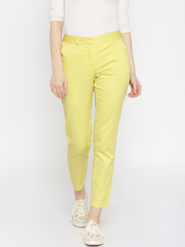 Vero Moda Yellow Ankle-Length Trousers at myntra