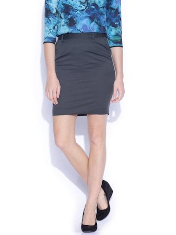 Arrow Woman Grey Formal Pencil Skirt at myntra