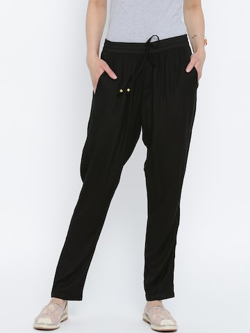 United Colors of Benetton Black Casual Trousers at myntra