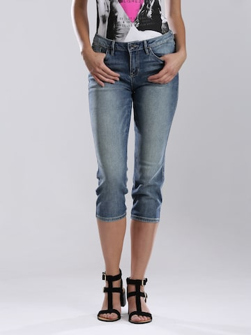 GUESS Women Blue Washed Skinny Fit Cropped Jeans at myntra