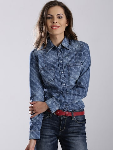 GUESS Blue Printed Denim Casual Shirt at myntra