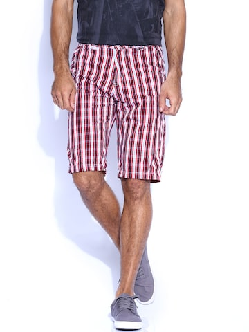 Sports52 Wear Red & White Checked Shorts at myntra