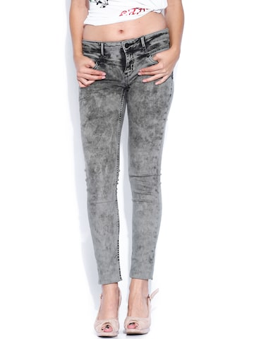 Ed Hardy Black Washed Super Skinny Fit Jeans at myntra
