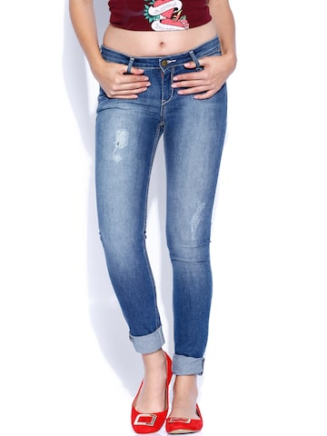Ed Hardy Blue Skinny Fit Jeans at myntra