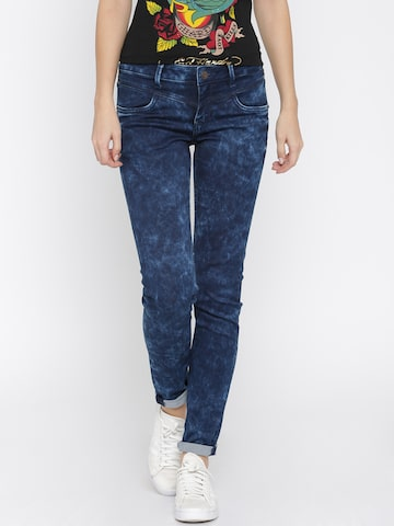 Ed Hardy Blue Super Skinny Fit Jeans at myntra
