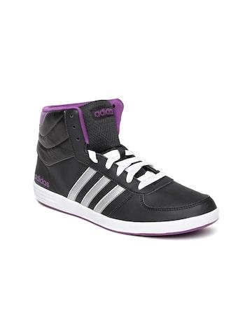 Adidas NEO Women Black Baseline VS Mid Sneakers at myntra