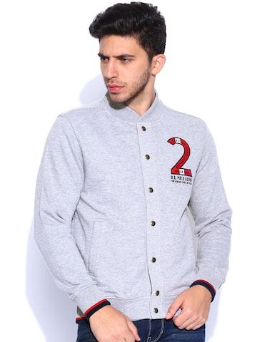U.S. Polo Assn. Grey Melange Sweatshirt at myntra