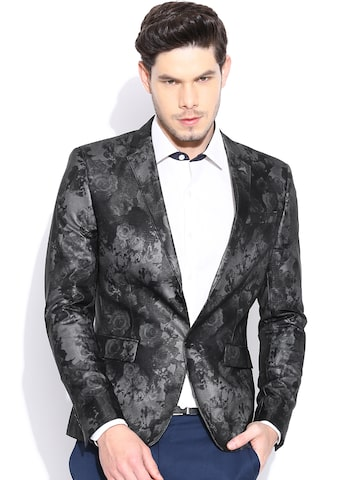 Blackberrys Black Single-Breasted Printed Partywear Blazer Blackberrys Blazers at myntra