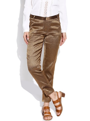 BIBA OUTLET Golden Casual Trousers at myntra