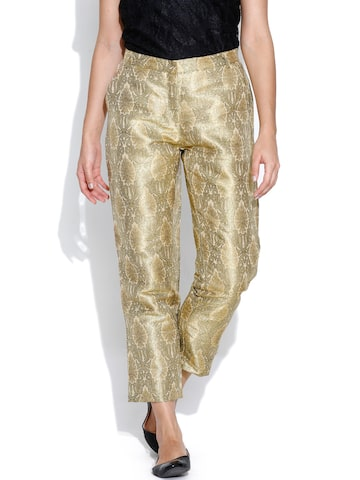 BIBA Beige Casual Trousers at myntra