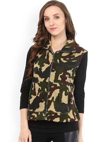 The Vanca Olive Green & Brown Camouflage Print Sleeveless Jacket at myntra