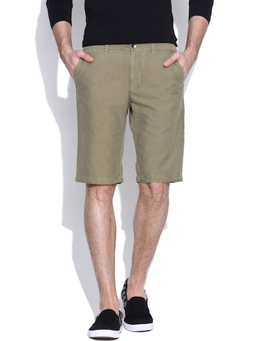 United Colors of Benetton Olive Green Shorts at myntra