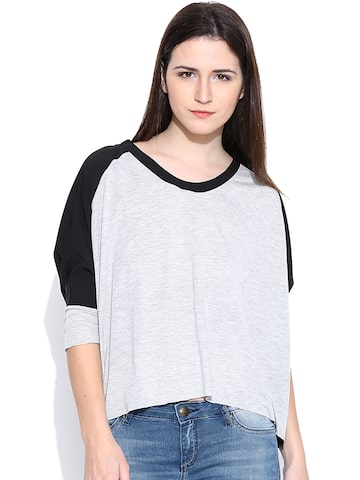 United Colors of Benetton Grey Melange Top at myntra