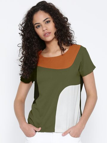 United Colors of Benetton Multicoloured Panelled Top at myntra