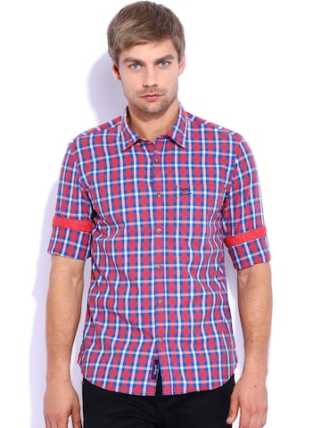 U.S. Polo Assn. Red & Blue Checked Shirt at myntra