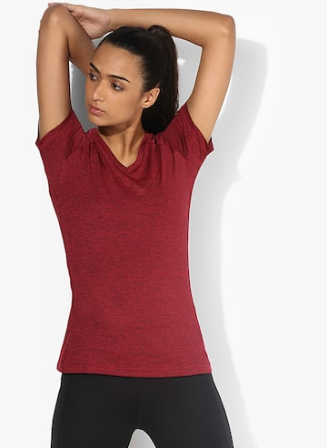 Freelift Training Maroon V Neck T-Shirt Adidas Tshirts at myntra