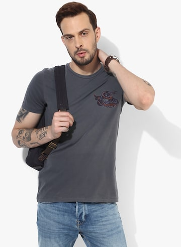 Dark Grey Printed Straight Fit Round Neck T-Shirt Celio Tshirts at myntra